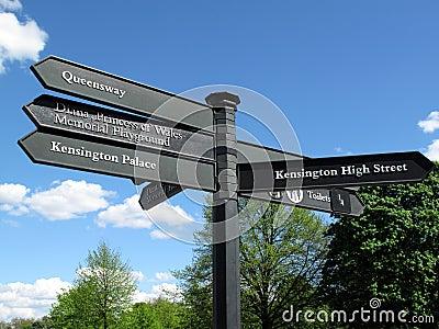 Kensington Palace signpost