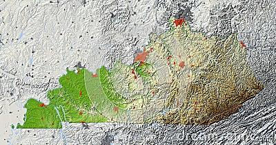 Kentucky, relief map