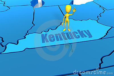 Kentucky state outline with yellow stick figure
