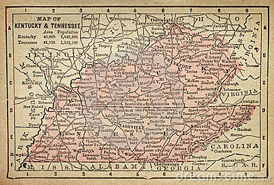 Kentucky and Tennessee map