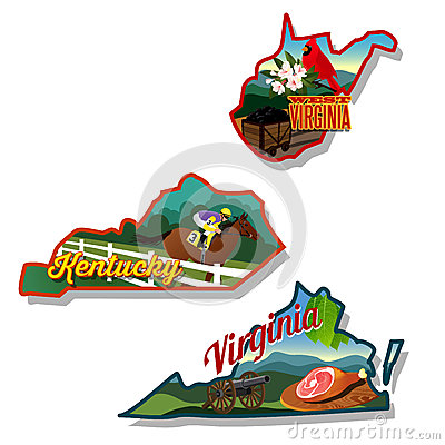 Free Kentucky West Virginia And Virginia State Illustra Royalty Free Stock Photos - 40975028