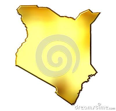 Kenya 3d Golden Map