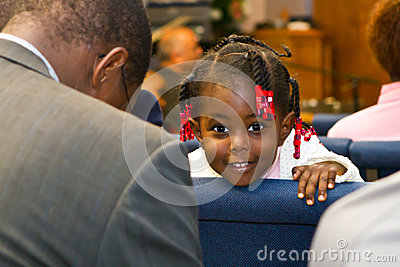 Kenyan American girl in church Editorial Image