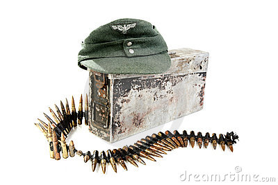 Kepi of the German soldier and machine-gun tape