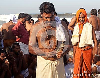 KERALA - JULY 30: A Hindu priest Editorial Photo