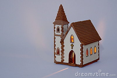 Keramisk kyrklig miniature
