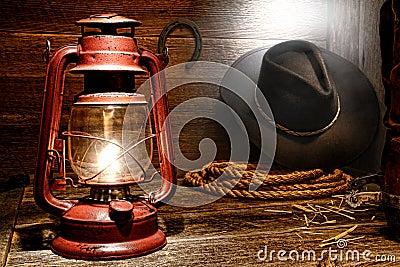 Kerosene Lamp in American West Rodeo Cowboy Barn