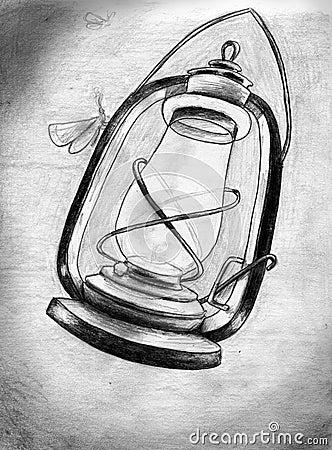 Kerosene lamp in the night