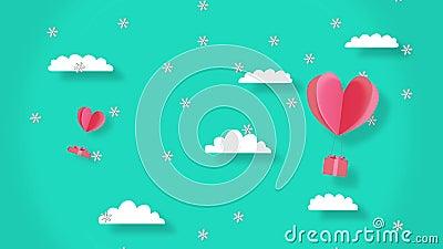 Kerstanimatie met sneeuw Gift boxes met drijvende harten De achtergrond is een afbeelding van Clouds en sky stock footage
