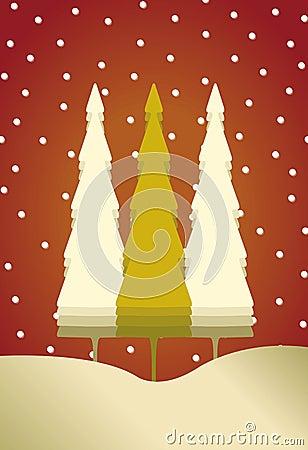 Kerstkaart met 3 bomen en sneeuw