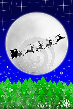 Kerstman en zijn rendieren die tegen maan berijden