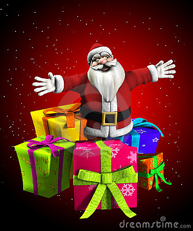 Kerstman met stelt voor