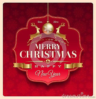 Kerstmis die decoratief etiket begroet
