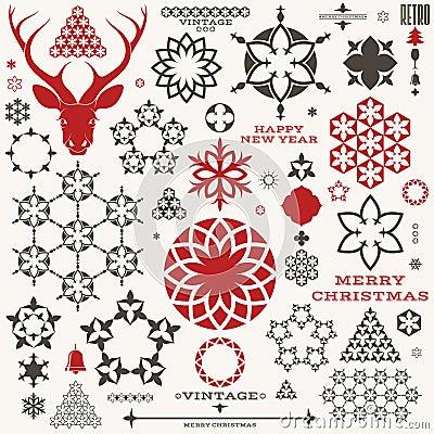 Kerstmis nieuw jaar wijnoogst vector illustratie afbeelding 60444384 - Wijnoogst ...