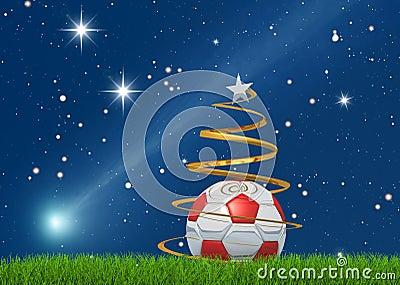 Kerstmis soccerball en komeet