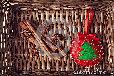 Kerstmisstuk speelgoed en kruiden