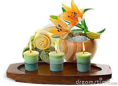 Kerzen und Badekurortzubehör