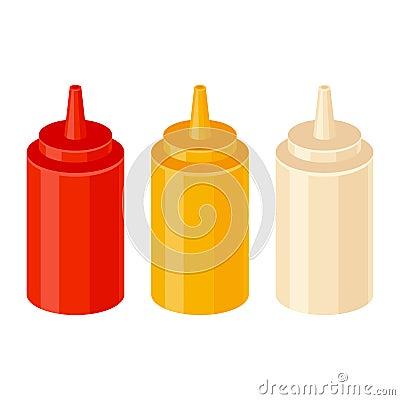 Ketchup mustard and mayonnaise bottles Vector Illustration