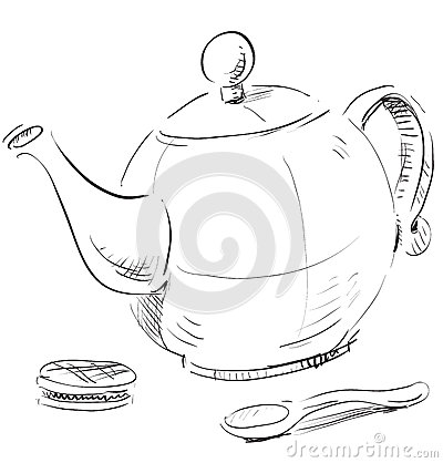 Kettle, spoon and biscuit