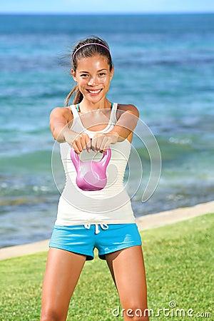 Kettlebell crossfit fitness woman