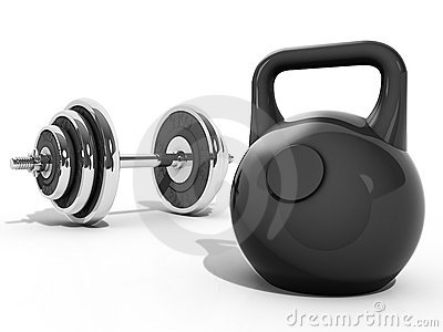 Kettlebell and dumbbell