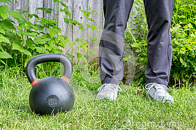 ... (62lb/28 kg) on green grass in backyard - outdoor training concept