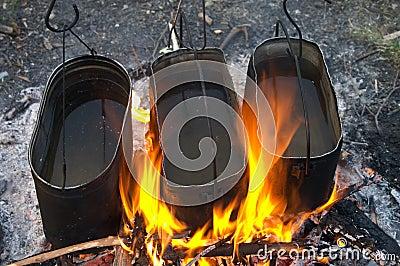 Kettles in fire