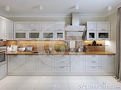 Keuken eigentijdse stijl stock illustratie afbeelding 48271183 - Eigentijdse keuken grijs ...
