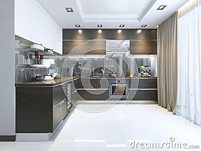 Keuken met houten vloeren stock afbeelding   afbeelding: 11517691