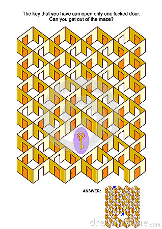 Free Key And Locked Doors Maze Game Royalty Free Stock Photography - 95625377