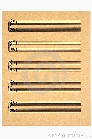 Key of A,  Blank Music Sheet on Parchment Paper