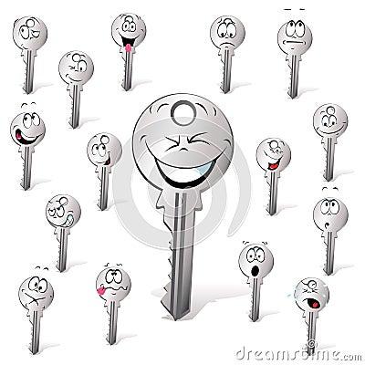 Key cartoon  with many expression
