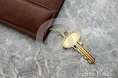 Key case with key