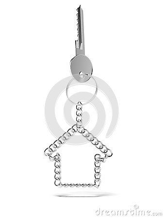 Key with chain shaped as house