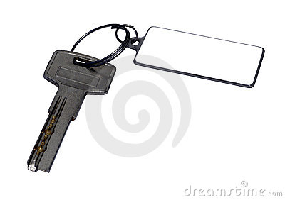 The key with the charm isolated on the white