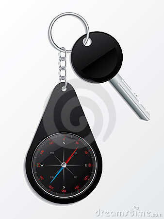 Key with compass keyholder