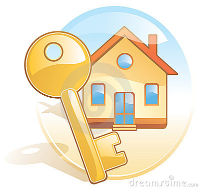 Key, home, realty. Aqua style