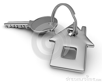Key of house  on white.