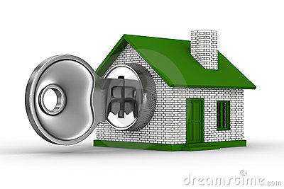 Key and house on white background