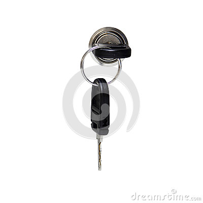A key in keyhole with locking a cabinet