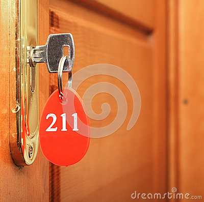 Key in keyhole with number