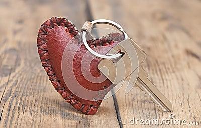 Key with leather trinket