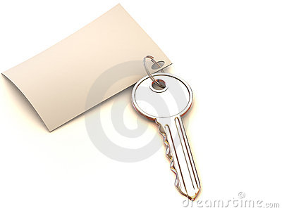 Key with note. 3d