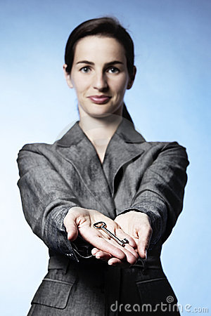 Free Key On Palms Of Businesswoman Stock Images - 15108804