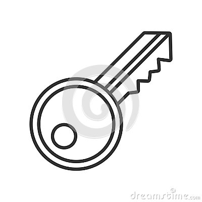 Key Outline Flat Icon on White Vector Illustration