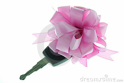 The key with ribbon for you new car