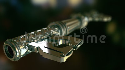 Key that unlocks the door. High quality animation showing flight in steel mechanisms, and flight in the outside. Next, key opens closed door. Inside three