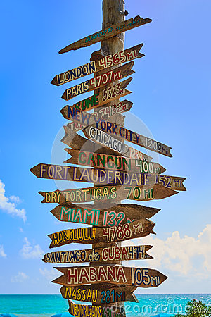 Free Key West Beach Distance Signs To Landmarks Stock Image - 73508831
