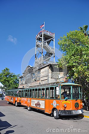 Key West Old Town Trolley, Florida Editorial Photography