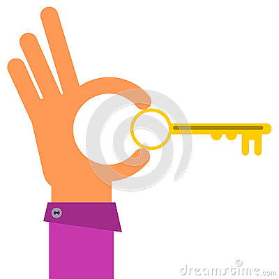 Free Key With Hand Royalty Free Stock Images - 43086599